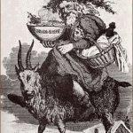 Santa riding the Yule Goat