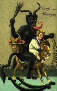 Krampus on rocking horse