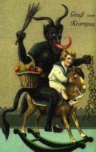 Krampus on rocking horse