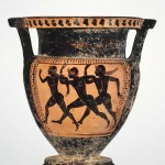 Mixing bowl (krater) with sprinters (likely diaulos), Etruscan, c 480 BC (MFA1998.49)