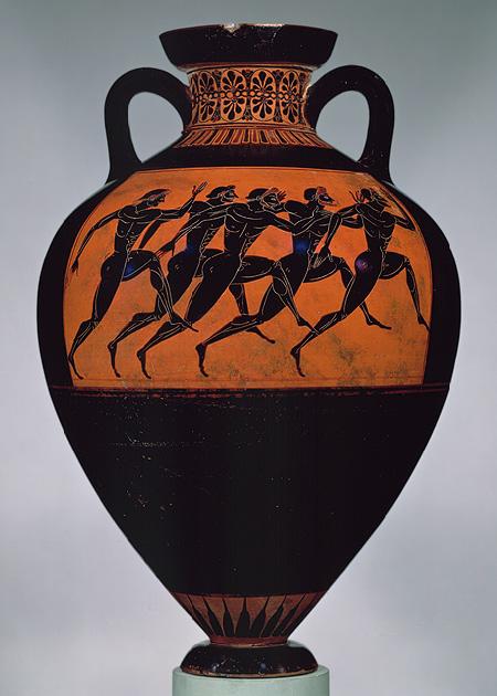 Stadion runners, Panathenaic amphora, ca. 530 BC ...