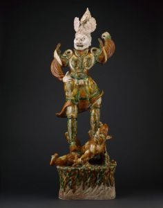 Armored Guardian King (Tianwang) Trampling Demon, China, Tang dynasty (AD 618–907), First half of 8th century, Earthenware, glaze, and pigment Art Institute of Chicago, 1970.1069