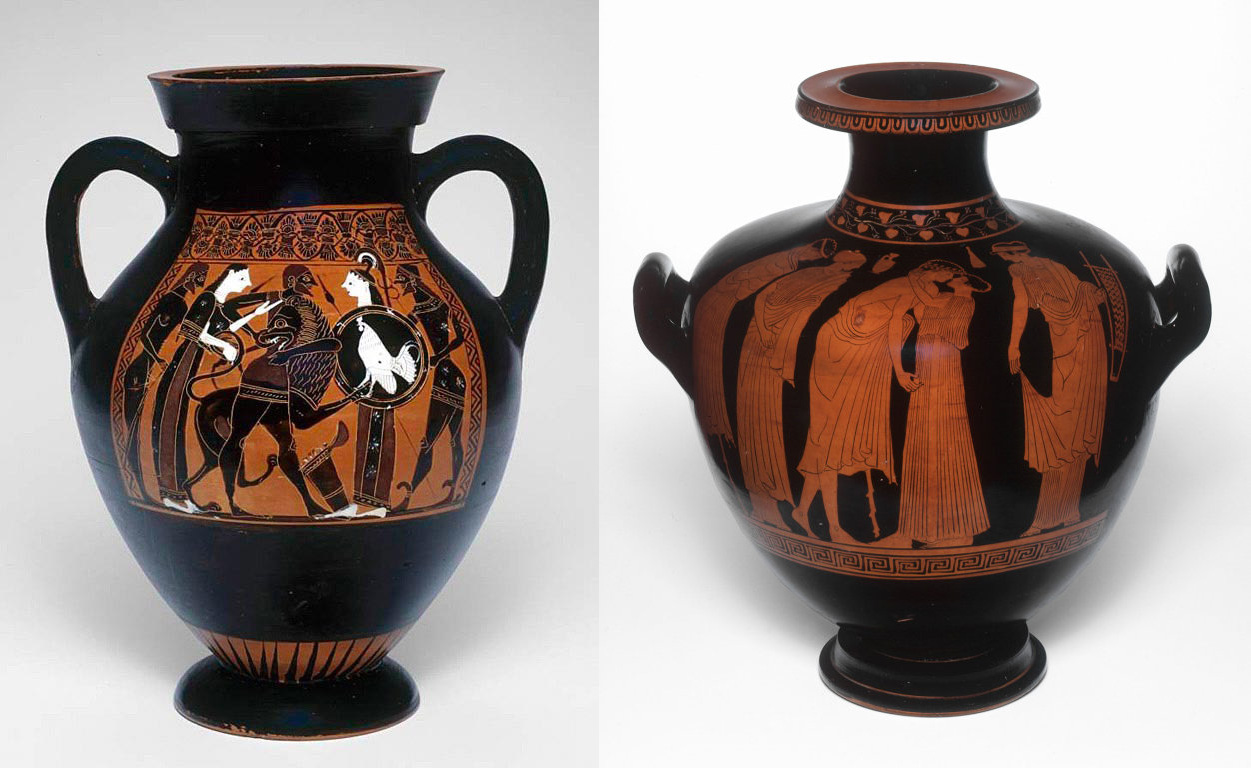 Side-by-side comparison of ancient Greek black figure and red figure painted vases, Art Institute of Chicago