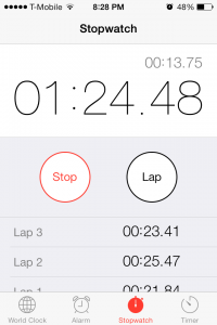 iPhone's stopwatch to count airlock