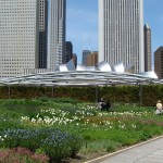 View of Pritzker Pavilion in Millennium Park from Lurie Garden