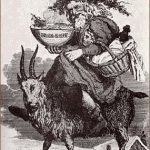 Santa riding the Yule Goat