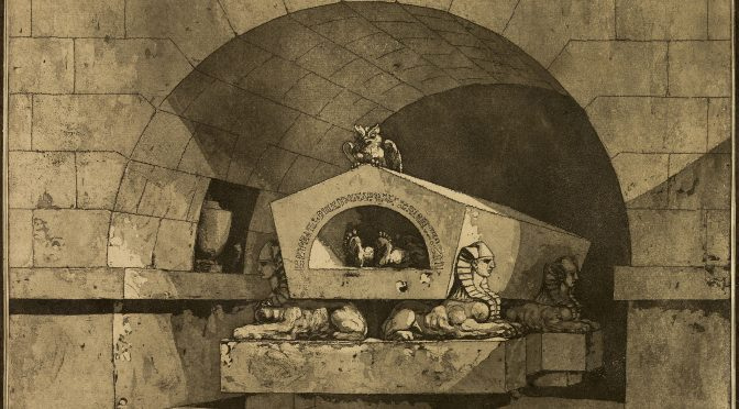 Louis Jean Desprez, Tomb with Sphinxes and an Owl, 1779-84